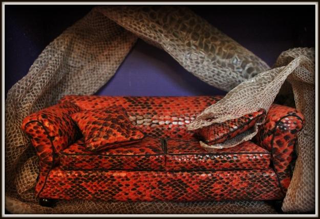 snake-skin sofa